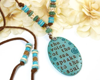 Boho Beach Necklace, Sea Soul Leather Necklace, Inspirational Beach Lovers Jewelry, Tibetan and Greek Beads, Bohemian Gemstone Ocean Jewelry