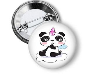 Cute panda bear 1.25 inch Pinback button custom pin back buttons panda party favors pin back buttons Panda pin badge birthday favors
