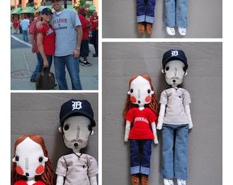 Two Custom Dolls, Custom Portrait, Personalized Dolls, Wedding Gift, Rag Doll, Girlfriend Gift, Boyfriend Gift, Anniversary Gift