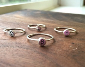 Sterling silver initial stack ring