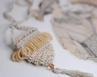 Vintage-Inspired Bead Crochet Amulet Bag Necklace Cream - Downton Abbey