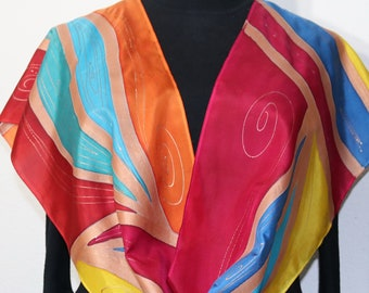 Silk Scarf Red Orange Blue Handmade Shawl Hand Painted JAMAICAN BREEZE by Silk Scarves Colorado. Select Your SIZE! Birthday, Christmas Gift