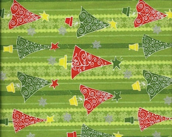 "New Red and Green Christmas Trees with Sparkly Stars on Green Striped 100% Cotton Fabric 36"" x 43"" Piece"