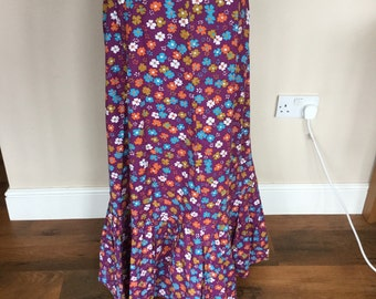 Flower power purple cotton maxi skirt