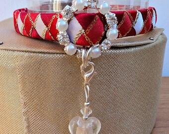 Breakaway Kitten Collar Red and White Diamonds