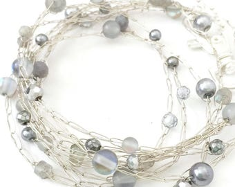 labradorite bracelet gemstone wrap boho chic bracelet beaded layered bracelet labradorite long necklace stacking bracelet dainty layered arm