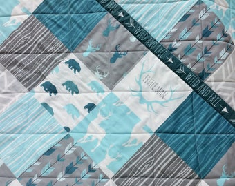 Woodland Baby Boy Quilt Blue Rustic Nursery Gray Baby Bedding Modern Patchwork with Deer Bear Buck Antlers Arrows Wild and Free Homemade