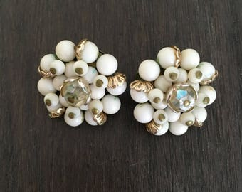 1950's white crystal clip on earrings