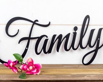 Family Sign | Metal Sign | Metal Wall Art | Wall Hanging | Family | Script | Metal Wall Decor | Sign | Housewarming Gift
