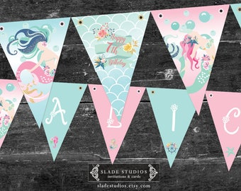 Mermaid birthday party bunting flags. Under the Sea theme birthday party bunting flags printable.