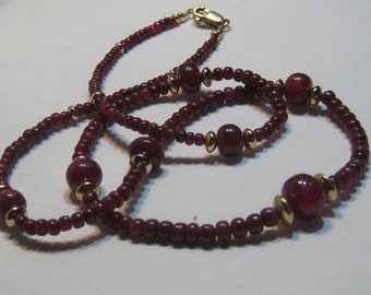 Ruby bead necklace made with real natural ruby beads and Gold Fill Beads  ......... 21   1/4 inches ... e969