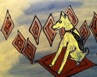Original Retro dog painting, Geometric dog art, Modern dog artwork, Sci-Fi dog illustration, copper dog decor, magic carpet painting, hippie