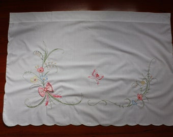 """1980s Curtain Panel 35"""" x 24"""" With Flowers and a Pink Bow"""