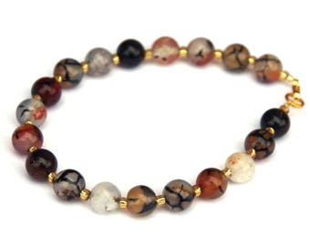 Agate bracelet, Dragons Vein Agate, Coffee Agate, Agate jewelry, veined agate, coffee colored, coffee jewelry, gemstone bracelet, gift ideas