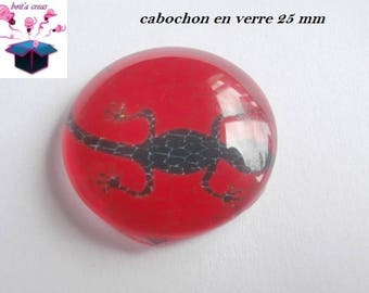 1 cabochon clear 25 mm salamander theme