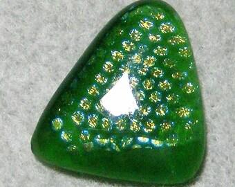 Cabochon en verre Dichroique - fantastique multicolore vert & or Triangle, fait à la main par JewelryArtistry - DC853