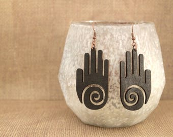"Spiral Hand ""Healer Hands"" Laser Cut Wood Earrings / Spiral Hand Laser Cut Wood Earrings"