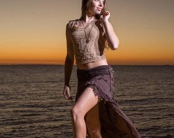 Bedouin Skirt (Brown) - Festival Clothing Bohemian Festival Gypsy Pixie Goa Tattered Layer Skirt Boho Style Skirt with Pocket