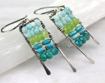 Mixed Blue and Green Stone Wrapped Abacus Earrings Oxidized Silver