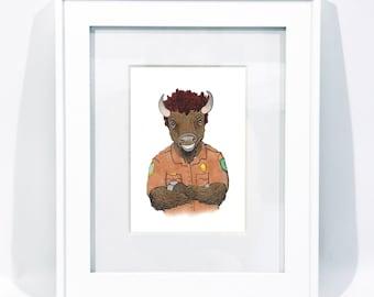 Park Ranger Bison - Bison Illustration - Bison Art - Park Ranger - Park Ranger Gift - Gift for a Park Ranger - Park Service