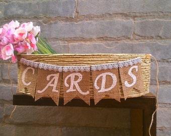 CARDS Mini Burlap Banner – Rustic wedding banner, wedding sign.