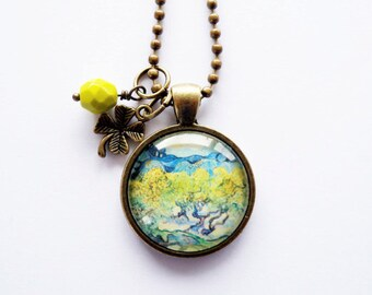 Art Pendant Necklace - Van Gogh Olive Trees - You Choose Bead and Charm - Custom Jewelry - Art Jewelry - Vincent Van Gogh - Customized
