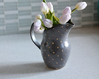 Ceramic Pitcher - Pottery Vase in Charcoal Gray and Gold - Polka Dot