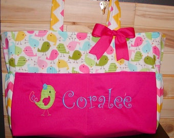 Diaper bag, handbag, book bag..Birdies N Pink..With Name and Bow. Choose end pockets. Add Name and font in message.