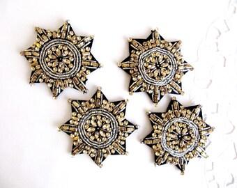 2Pcs.Gauta Gold Epaulette,Rosette Patch,Gold Shoulder  Epaulet ,Beaded Epaulet,Handmade Patch,Gold Mix  Beaded Epaulet