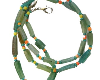 Amazing Authentic Vikings Green Glass Bead Necklace - Restrung - 800-1100 AD - Comes with COA !!  Wearable !!