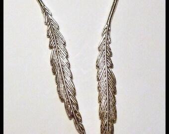 * ¤ 2 bookmarks silver leaf motif - 85mm ¤ * #D11