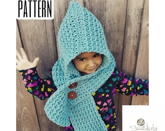 Crochet PATTERN | Scoodie Pattern | Hooded Scarf Crochet Pattern | Icelandic Scoodie Pattern in Child and Adult Size | PDF Digital Download