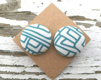 """Fabric Button Post Earrings - Blueand White Stripes Abstract - 3/4"""""""