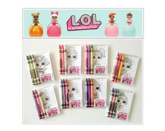 Series3 ~ 8 sets LOL Surprise Dolls Premium Crayola Crayons and Coloring Card Favors ~ LOL Birthday Party Favors