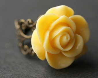 Yellow Rose Ring. Yellow Flower Ring. Gold Ring. Silver Ring. Bronze Ring. Copper Ring. Adjustable Ring. Handmade Jewelry.