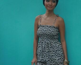 Leopard print, Summer maxi, cotton dress, boho, casual