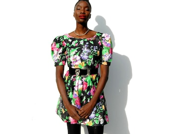 Floral tea party frock minidress with puffy shoulder 1990s 90s VINTAGE