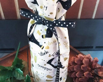 Wine Bottle  Gift Wrap - Hostess Gift Wine Bag - Champagne Bottle Cozies - Cardholder included