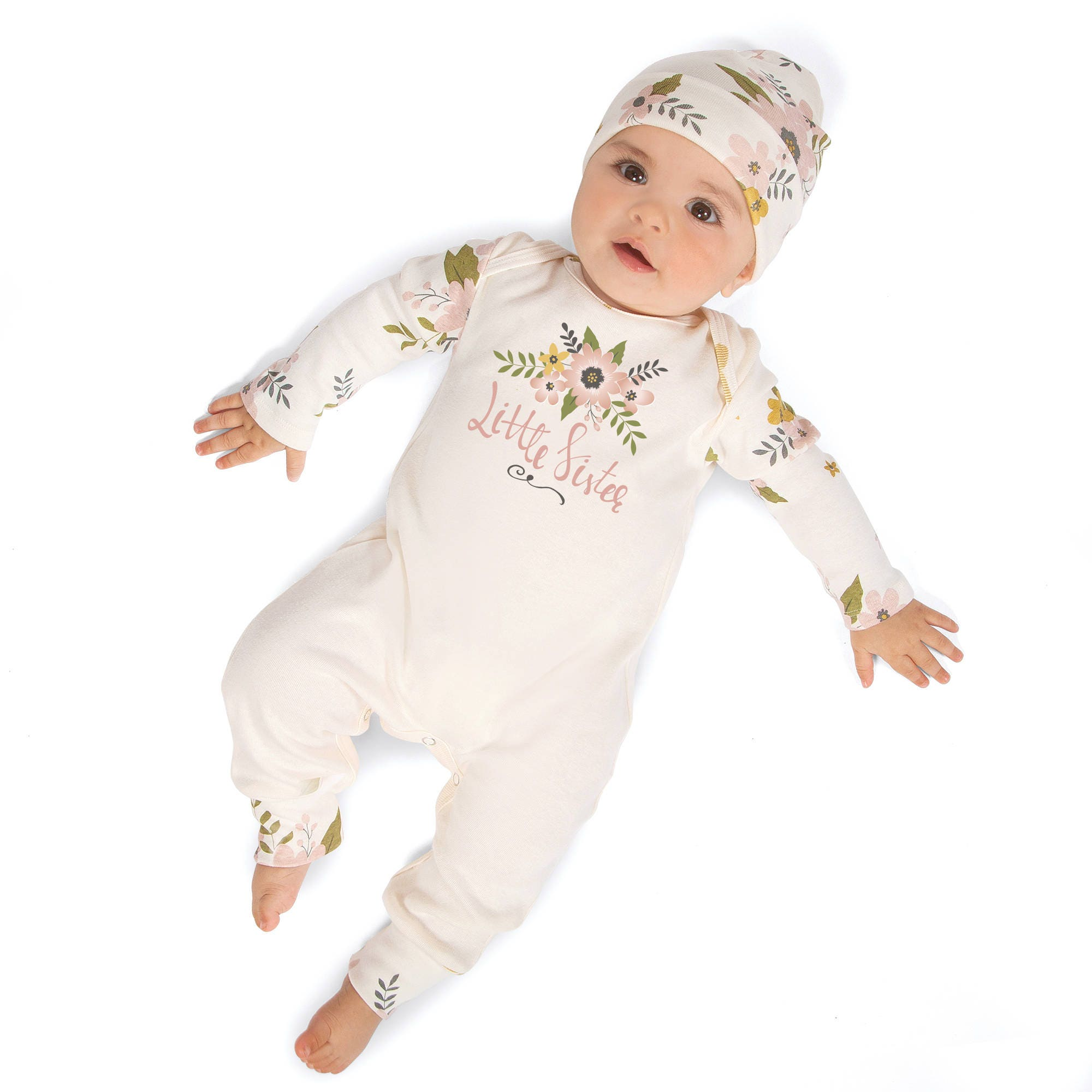 Little Sister Newborn Girl ing Home Outfit Infant Girl Outfit
