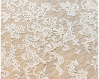 Floral sequin lace fabric, flower Wedding Lace, Sequin Lace Fabric, bridal lace fabric, Couture Lace - Alencon Lace fabric - (L17-021)