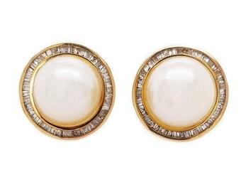 18K Mabe Pearl & Diamond Earrings