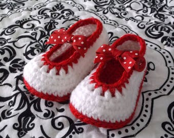 Crocheted Baby Girl Booties Red and White Baby Booties Baby Girl Mary Janes Crocheted Mary Janes