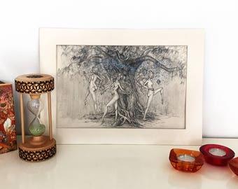 Original Artwork, Graphite Pencil Drawing - Dryads, 27.5 x 35 cm