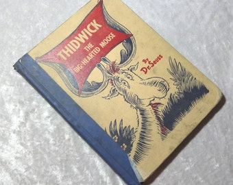 Thidwick the Big Hearted Moose by Dr. Seuss, Vintage Scarce 1948 Illustrated Childrens Board Book,