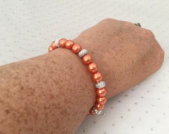 Orange Pearl Bracelet, Orange Wedding Jewelry, Rhinestone Bridal Jewelry, Tangerine Wedding, Mother of the Bride Jewelry, Bridesmaid Gift