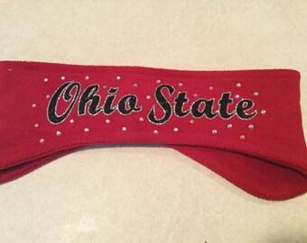 Ohio State Rhinestone Glitter Sparkle Fleece Headband Earwarmers