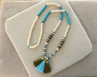 "Ladies 28"" Stretch Cord 3 Tassel Necklace."