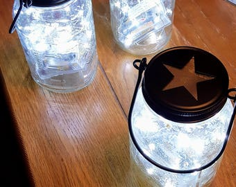 Pair of Hanging Mason Jar LED Timer Lights
