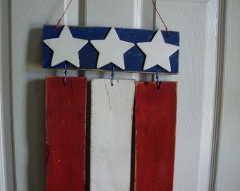 4th of July Door/Wall Hanging,Americana Decor, American Flag, Patriotic Decor,July 4th Decor, Wood Flag, Red White Blue, Rustic Flag,USA