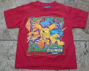 Vtg 90s DIGIMON Youth Medium T Shirt